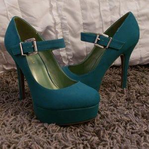 Shoe Republic LA Mary Jane teal platform pumps